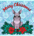 merry christmas greeting card with rabbit vector image