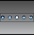 metallic music control buttons set five icons vector image