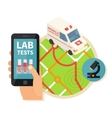 Mobile laboratory Online medical lab navigation vector image