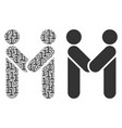 persons handshake collage of binary digits vector image