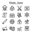 pirate icon set in thin line style vector image vector image