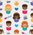 reading kids seamless pattern vector image vector image