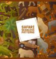 safari hunting set seamless patterns vector image