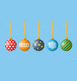 set christmas balls on white background vector image vector image