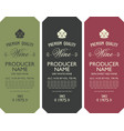 set three wine labels with vine leaves vector image vector image