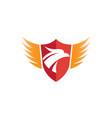 shield slogan eagle head and wings logo vector image