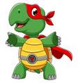 smiling superhero turtle cartoon character vector image vector image
