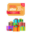 special offer 30 off discount emblem gift box vector image vector image