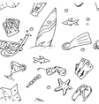 surfing hand draw pattern vector image vector image