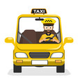 taxi driver rides in the car on call vector image