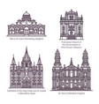 thin line church and cathedral europe religion vector image