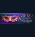 venice carnival design template with gold mask vector image