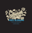 video blogging web cover design with isolated vector image vector image