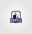 vintage castle logo in shield design vector image