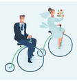 wedding invitation card with couple on bike vector image vector image