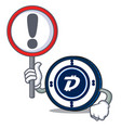 with sign digibyte coin character cartoon vector image vector image