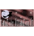 Postcard for Halloween Witch on a broom and bats vector image