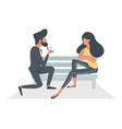 a man proposing a woman sitting bench vector image vector image