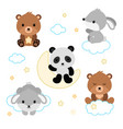 adorable flat sleeping animals set vector image vector image