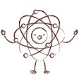 atom kawaii caricature with open arms standing in vector image vector image