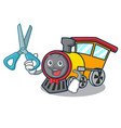 barber train character cartoon style vector image