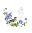 blue flower bird composition vector image vector image