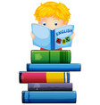 boy reading a book on white background vector image