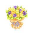 bunch spring flowers bouquet rose and peony vector image vector image