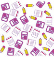 calculator math with pencils and paper pattern vector image vector image