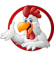 cartoon rooster mascot presenting vector image