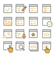 checklist flat line icon set vector image