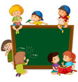 children on chalkboard template vector image vector image
