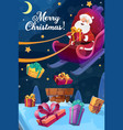 christmas poster santa flying on sleigh with gift vector image vector image