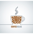 coffee cup line design background vector image vector image