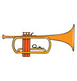 color hand-drawn musical instrument - trumpet vector image