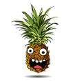 cute fresh pineapple cartoon character emotion fun vector image vector image