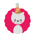 cute white bear party hat birthday vector image vector image