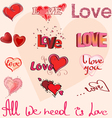 Different hearts and hand writing of Love elements vector image vector image