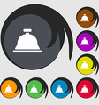 Dish with lid icon sign Symbols on eight colored vector image