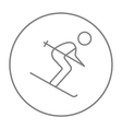 Downhill skiing line icon vector image vector image