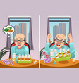 elderly man angry at the cost of his prescription vector image