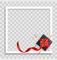 empty photo frame template with gift box vector image