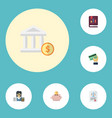 flat icons bookkeeper card bank and other vector image vector image
