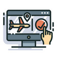 flight booking line color icon vector image