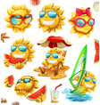 fun summer sun characters 3d icon set vector image