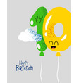 funny happy birthday gift card number 10 balloons vector image vector image