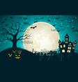 halloween night moon composition vector image