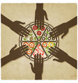hands stretched to pizza old background vector image