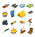 hiking icons set camping equipment vector image vector image