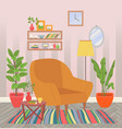 home interior chair with houseplants and carpet vector image vector image